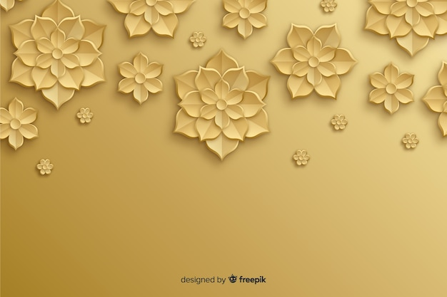 Fondo natural con flores doradas en 3d