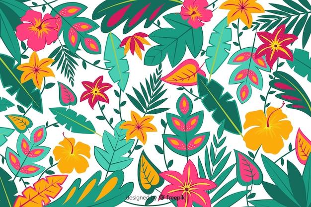 Fondo natural con flores exóticas coloridas