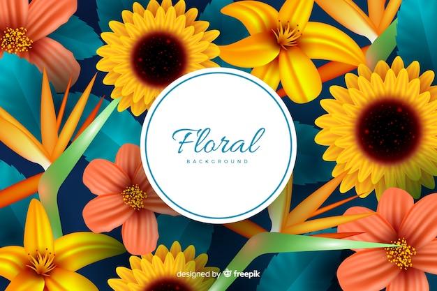 Fondo natural con flores realistas
