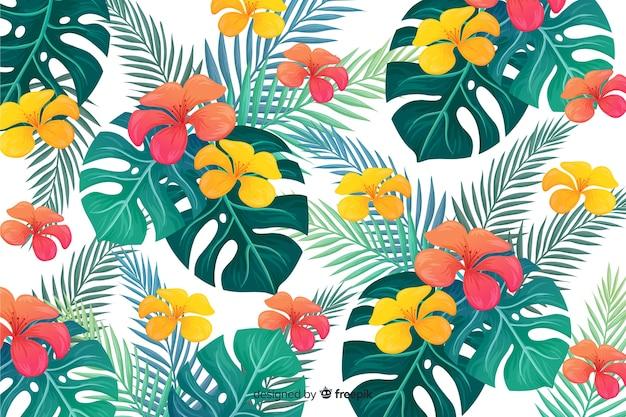 Fondo natural con flores tropicales