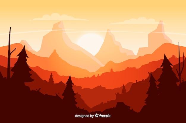 Fondo natural con gradiente de paisaje de montañas