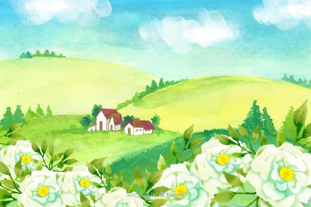 Fondo natural con paisaje en acuarela