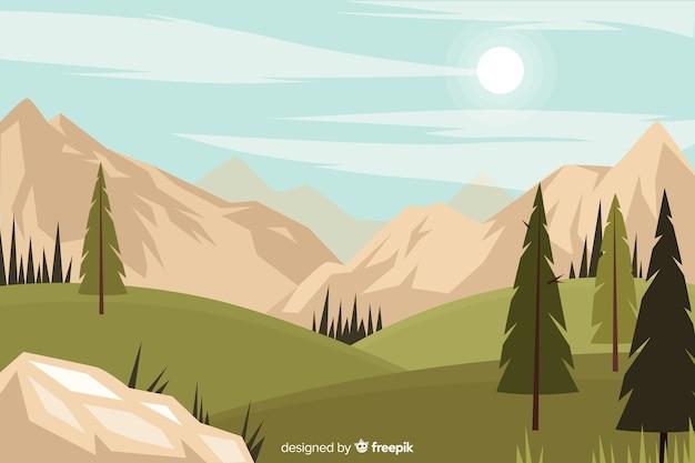 Fondo natural con paisaje en diseño plano
