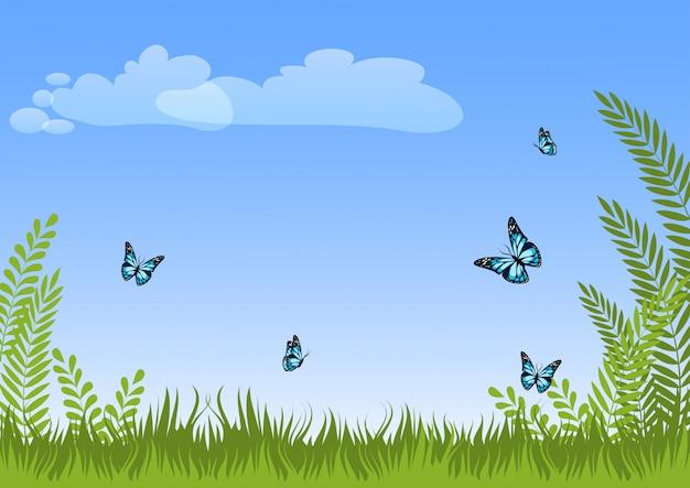 Fondo natural del paisaje del prado del verano con la hierba verde, las plantas, las mariposas azules y el cielo.