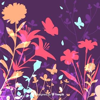 Fondo natural con siluetas coloridas de flores