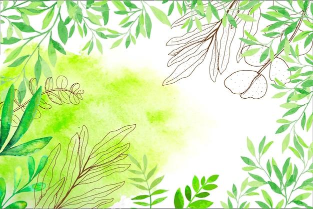 Fondo de naturaleza acuarela pintada a mano