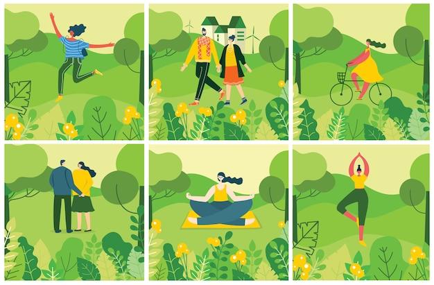 Fondo de naturaleza ecológica con diferentes personas, pareja haciendo actividades, caminando y descansando al aire libre, en el bosque y el parque