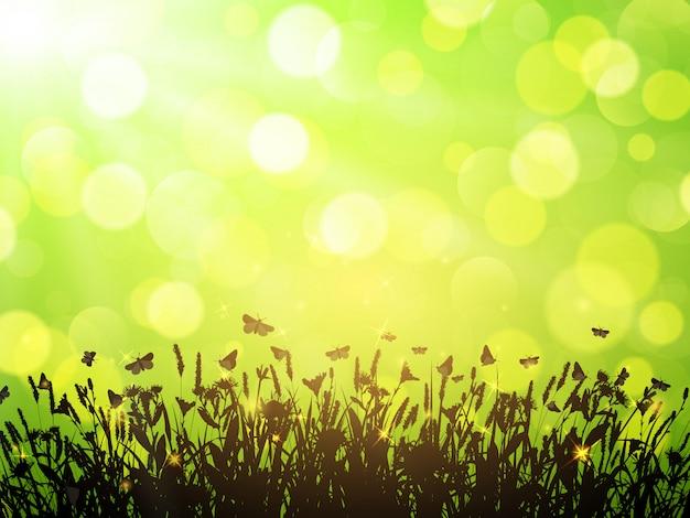 Fondo de naturaleza con flores silvestres y mariposas sobre fondo verde con bokeh. ilustración