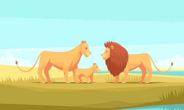 Fondo de naturaleza de granja de león