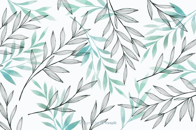 Fondo de naturaleza con hojas grises y azules
