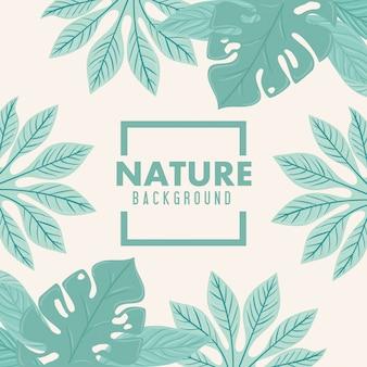Fondo de naturaleza, marco de naturaleza tropical hojas de color pastel