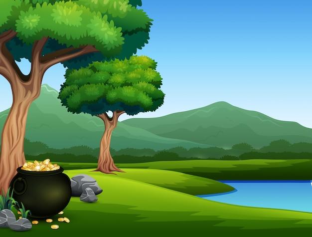 Fondo de naturaleza con olla negra de monedas