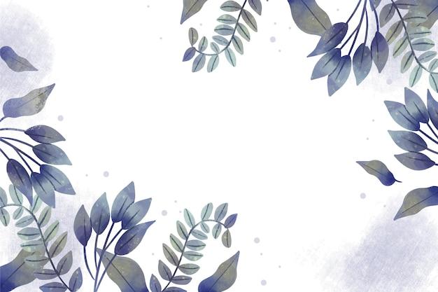 Fondo de naturaleza pintado a mano con hojas.