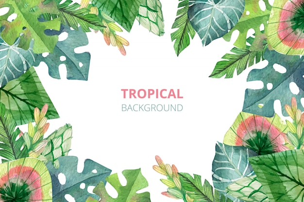 Fondo de naturaleza tropical acuarela