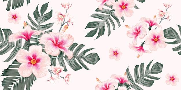 Fondo de naturaleza tropical de patrones sin fisuras con mano dibujar flores y hojas