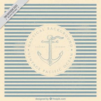 Fondo nautico de rayas con ancla en estilo vintage
