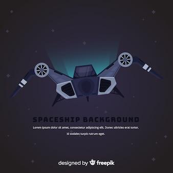 Fondo de nave espacial moderna con diseño plano