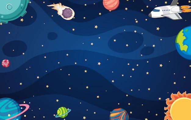 Fondo con nave espacial y muchos planetas en el espacio