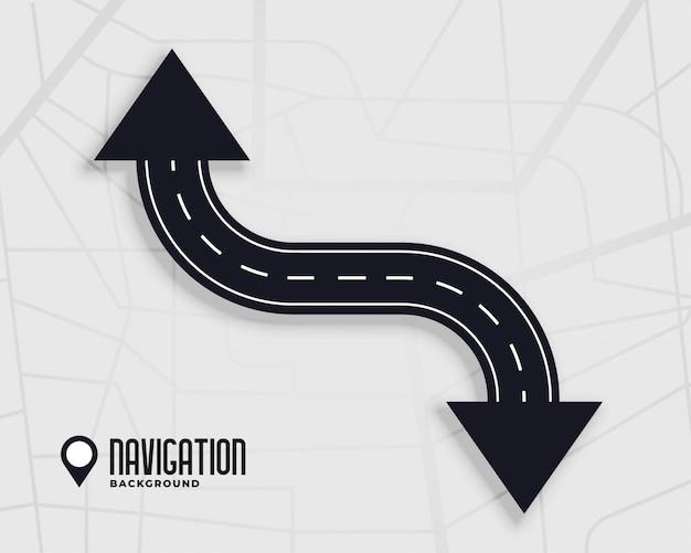 Fondo de navegación de carretera con signo de flecha