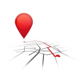 Fondo de navegación gps. mapa de carreteras aislado en blanco con puntero.