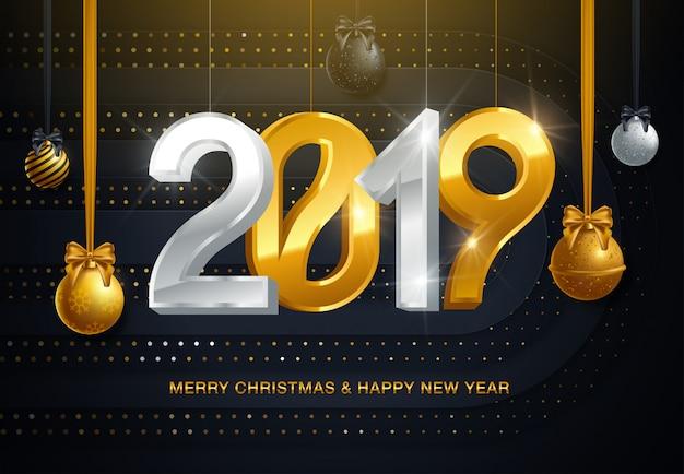 Fondo de navidad 2019 con bola de navidad