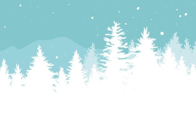 Fondo de navidad de abetos con nieve cayendo en el invierno