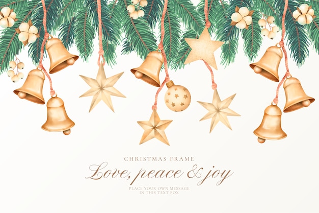 Fondo de navidad acuarela con adornos dorados