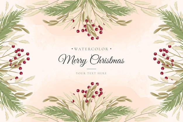 Fondo de navidad en acuarela con árbol de navidad