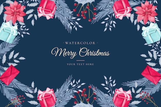 Fondo de navidad acuarela con caja de regalo y árbol de navidad