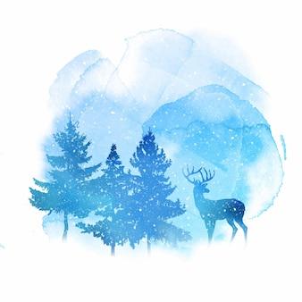 Fondo de navidad acuarela con renos y árboles