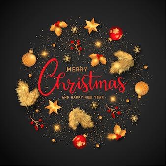 Fondo de navidad con adornos dorados y rojos