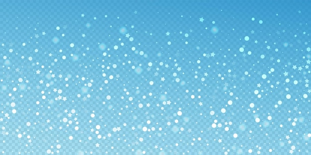 Fondo de navidad aleatorio de estrellas mágicas. sutiles copos de nieve voladores y estrellas sobre fondo azul transparente. hermosa plantilla de superposición de copo de nieve de plata de invierno. ilustración de vector encantador.