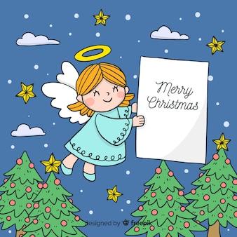 Fondo navidad ángel adorable dibujado a mano