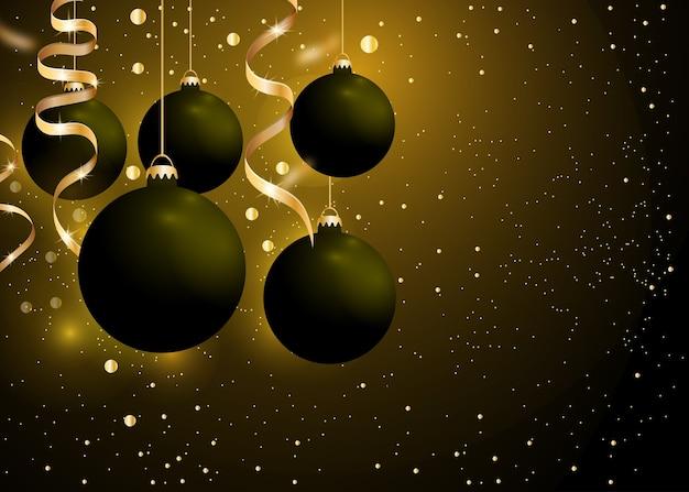Fondo de navidad y año nuevo con bolas de adornos negros y cintas doradas sobre fondo negro oscuro.