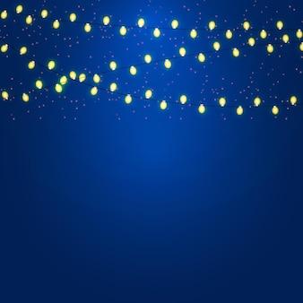 Fondo de navidad y año nuevo con guirnalda luminosa ilustración vectorial eps10