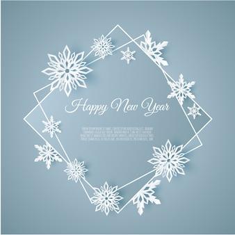 Fondo de navidad y año nuevo con marco hecho de copos de nieve de papel