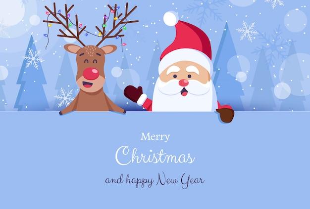 Fondo de navidad y año nuevo. santa claus, barba, sombreros. ilustración