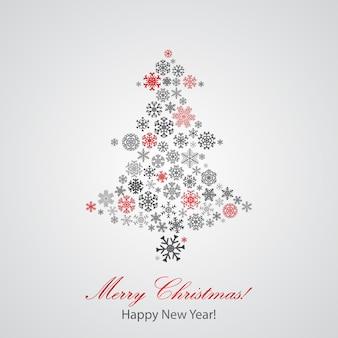 Fondo de navidad con árbol de navidad de copos de nieve