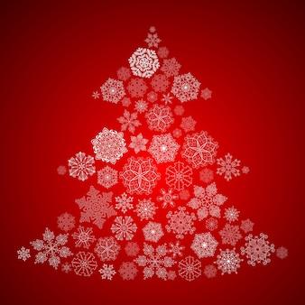 Fondo de navidad con árbol de navidad hecho de copos de nieve blancos