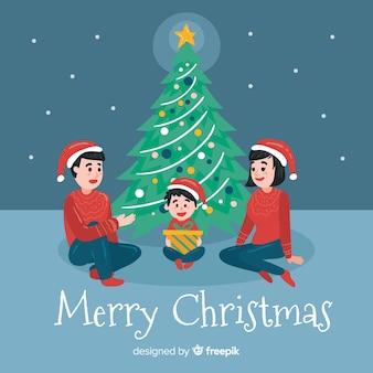 Fondo navidad árbol de navidad plano