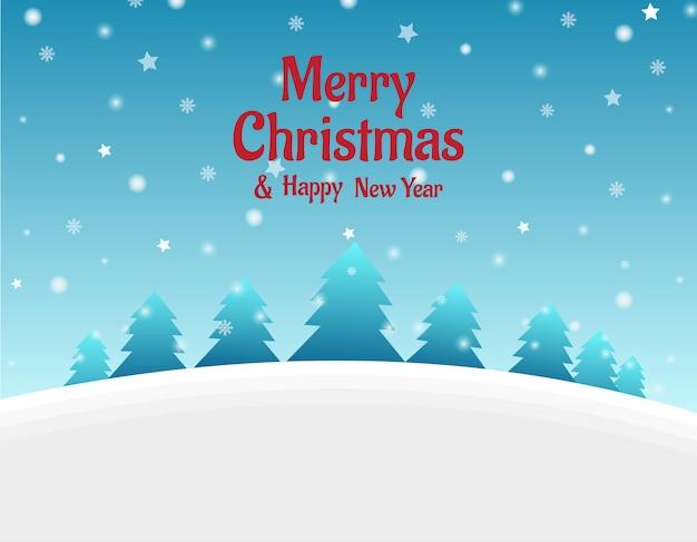 Fondo de navidad con árbol y nevadas