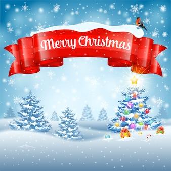 Fondo de navidad con árbol, regalos, cinta, copos de nieve y camachuelo sobre fondo nevado.
