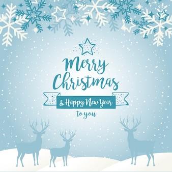 Fondo de navidad azul con siluetas de renos y copos de nieve