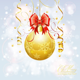 Fondo de navidad con balón de oro
