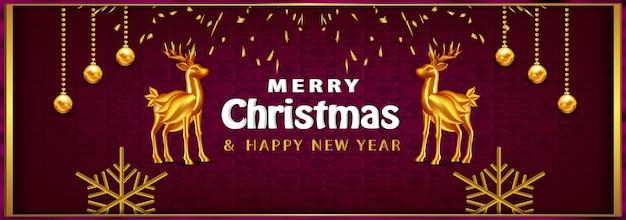 Fondo de navidad de banner de navidad de lujo con objetos realistas ciervos de oro