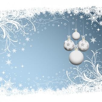 Fondo de navidad con bolas blancas