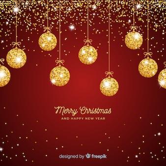 Fondo navidad bolas brillantina dorada