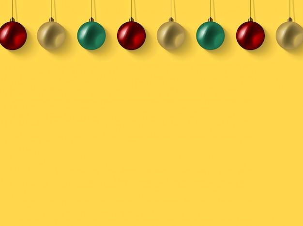 Fondo de navidad con bolas de oro rojo y verde brillo realista