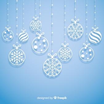Fondo navidad bolas papel colgando