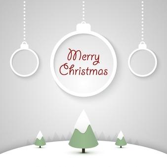 Fondo de navidad con bolas planas de navidad colgando